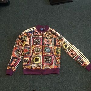 Adidas patchwork pattern jacket logo trifoil